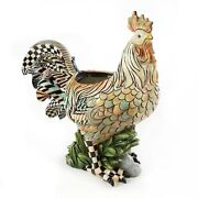 New Mackenzie Childs -courtly Check- Huge Rooster Indoor Planter -ready To Ship
