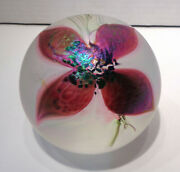 Signed Art Glass Frosted Iridescent Paperweight With Purple Orchid Whv 8227