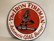 12in Iron Fireman Coal Anthracite Porcelain Sign Plate Rail