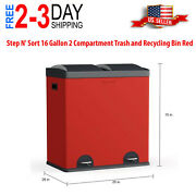 Step Nand039 Sort 16 Gallon 2 Compartment Trash And Recycling Bin Red Free Shipping