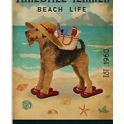 Airedale Terrier Beach Life Sandy Toes Salty Kisses Wall Decor Poster No Frame