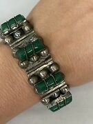 Solid Sterling Silver Malachite Beaded Bracelet 51g 7andrdquo 0321