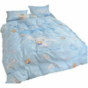 Blue Cinnamoroll Anime Cute Cotton Bed Sheet Quilt Cover Pillow Case Gift 4 Pcs