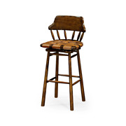 Country Walnut And Leather Bar Stool - 43
