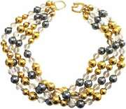 Kenneth Jay Lane-4 Row Satin Gold-gray Pearl And Clear Bead Necklace
