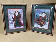 Pair Of Home Interiors 12 X 15 Decorative Vintage Inspired Santa Wall Pictures