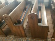 Antique Pre 1900 Church Pews With Kneelers 10' Furniture