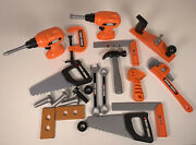 Lot Of Black And Decker Kids Play Pretend Toy Tools Drills, Hammer, Saws, Planer
