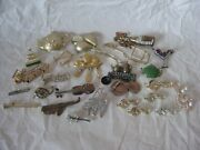 25 Vintage Pins Brooches Gold Silver Music Tea Cake Martini Wear Crafts Lot
