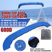 600d Bimini Top Boot Cover Storage Bag Sock Boat Shade No Frame Blue For 3 Bow