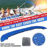 600d Bimini Top Boot Cover Storage Bag Sock Boat Shade No Frame Blue For 4 Bow