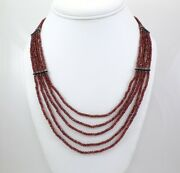 37.8gr Sterling Silver And Purple Garnet Graduated 5 Strand Bead Necklace 20 Fz2