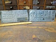 Vtg Wisconsin Test Gasoline Gravity 60 And 62 Degrees Gas Station Pump Metal Signs