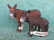 Retired Schleich S 13661 And 13686 Poitou Donkey And Foal W/tags - Excellent - Ship