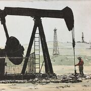 John Collette Etching Pumpjack Oil Pump Texas Color Matted Signed Image 5 X 7