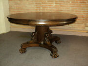 Antique Highly Carved Round Oak Dining Table W. Lion Heads Claw Feet
