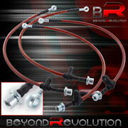 For 94-99 Toyota Celica High Performance Racing Red Braided Oil Brake Line Black