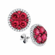 14kt White Gold Womens Round Ruby Circle Cluster Earrings 2-7/8 Cttw