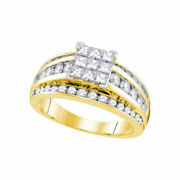 14kt Yellow Gold Womens Princess Diamond Square Solitaire Ring 1-1/2 Cttw