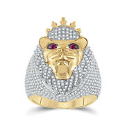 14kt Yellow Gold Mens Round Ruby Diamond Lion Face Animal Ring 1-3/4 Cttw