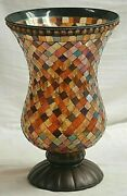 Partylite Global Fusion Mosaic Tiles Stain Glass Hurricane Candle Holder Footed