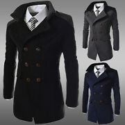 Men Warm Trench Coat Double Breasted Mid Length Jacket Winter Overcoat Slim Fit