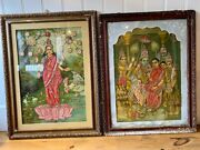 Pair Vintage Indian Lithographs With Fabric Embroidery By Ravi Varma 1920 Laxmi