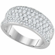 14kt White Gold Womens Round Diamond Anniversary Band Ring 1-1/3 Cttw