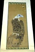 1850s Japanese Scroll Painting Of A Hawk Bird Of Prey From Samurai House Fuj