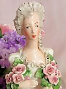 Vintage Antique Cordey Figurine Bust Victorian Lady With Roses Signed Large 9