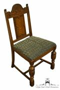 Vintage Antique Solid Walnut Jacobean English Revival Dining Side Chair