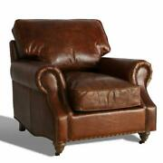 Marquesslife Hamdmade Single Sofa Couch Antique Style Full Genuine Aged Leather