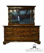 High End Vintage Solid Pine Rustic Country Style 66 Triple Dresser W. Mirror...