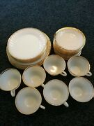 31 Piece Lot Fire King Milk Glass White Gold Dinner Salad Plates Saucers Cups