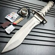 12 Tactical Camping Hunting Rambo Fixed Blade Knife Chrome Bowie + Survival Kit