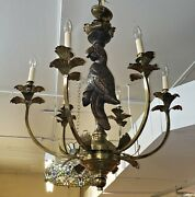 Fine Carved Wood Parrot And Brass 6 Light Chandelier