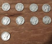 Lot Of 9 Silver Mercury Dimes - 1917 To 1944
