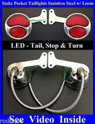 Red Led Stainless Stake Pocket Taillights Loom Pickup Truck Hot Rod Dodge Ford