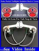 Led Blue Dot Stainless Stake Pocket Taillights W/ Loom Truck Hot Rod Dodge Ford