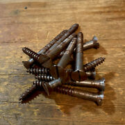 Antique Wood Screws Flat Head Slotted Steel 12 X 2andrdquo American With Rust