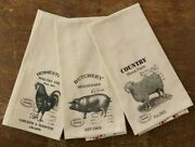 Farmhouse Dish Towels Vintage Look Kitchen 3 Pc Animal Feed Ad Chicken Pig Sheep