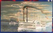 Antebellum Steamboats Oil Painting, Currier And Ives, 37 X 24, Unframed