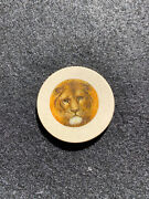 White Antique Lion Poker Chip Clay Vintage Rare Old Gambling Game