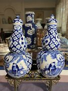 A Mirror Pair Of Chinese Antique Blue And White Double Gourd Porcelain Vase 19th