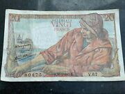 1943 French 20 Francs Wwii Banknote Vingt Francs.- Lovely Condition