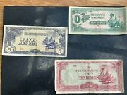 Set Of 4 - Burma - Japanese Occupation Wwii - Bank Notes 1/215 And 10 Rupees