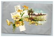 Vintage 1910's Winsch Back Religious Easter Postcard Silver Face Cross Flowers