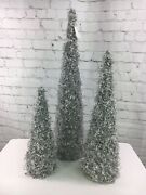 Set Of 3 Graduated Glistening Iced Crystal Trees Home Decor Christmas Holiday