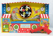 Vintage Ohio Art Carnival Shooting Gallery Game Mechanical Wind-up Tin Toy Works