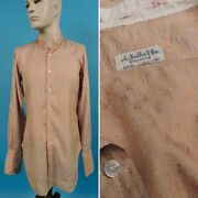 Antique 1920's Men's Figured Band Collar Silk Shirt By Sulka And Co